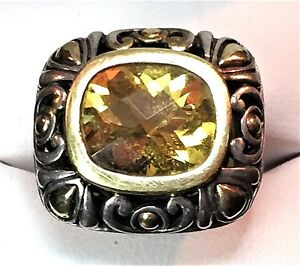 JOHN HARDY 2 TONE STERLING SILVER & 18K GOLD RING with YELLOW CITRINE GEMSTONE