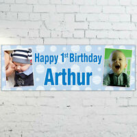 Personalised Boys 1st 2nd 3rd Birthday PHOTO Banner 3ft x 1ft - Blue