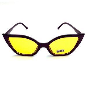New Wave Rockabilly Gothic Punk 50s 60s 80s Yellow Lens Black Cat Eye Sunglasses