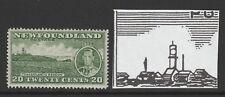 Newfoundland 1937 20c with 'EXTRA CHIMNEY' R 6/5 Perf 13½ SG 264ec Mint.