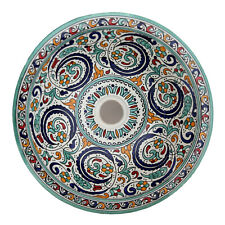 Moroccan Basin Handpainted round Wash Basin Sink Ceramic D41cm Fes-Xi