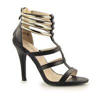 Anne Michelle Ladies Womens Zip Up Sexy Stiletto High Heel Shoes Black/Gold
