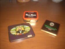 lotto 3 pezzi scatoline in latta porta tabacco e sigarette vintage