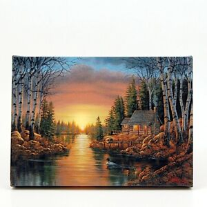 Cabin On River in Woods LED Light Up Lighted Canvas Wall or Tabletop Picture Art