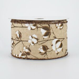 """Cotton Boll Glitter Natural Tan Wired Ribbon 2.5"""" wide x 10 yards"""