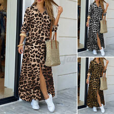 Womens Oversized Loose Long Dress Long Sleeve Leopard Retro Plain Casual Dresses