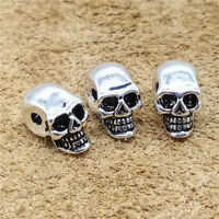 4 Sterling Silver Skeleton Skull Head Beads 925 Silver for Bracelet Necklace