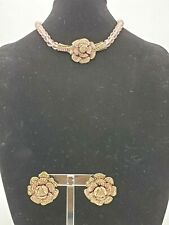 Heidi Daus Pink Faceted Glass Beads & Crystals Flower Necklace & Earring Set