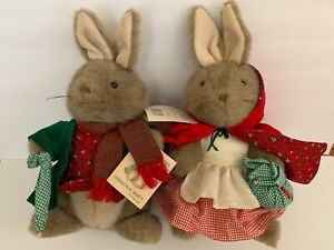 "Vintage NWT Beatrix Potter CHRISTMAS PARTY Happy Pair 15"" Stuffed Animal"
