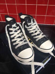 Girls Ralph Lauren Baseball Boots Size 3.5 Uk Eur 36 Black Glitter Excellent Co