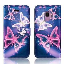 Design Leather Wallet Protective Flip Book Case Cover for Samsung Galaxy S7 Edge Pink Butterfly - Butterflies White Purple Midnight