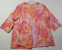 d&co Womens 3/4 Sleeve Open Front Blouse Top 2X Plus Orange Pink Floral Paisley
