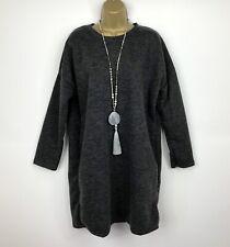 Neues AngebotNeue Kollektion italienische Tunika Pullover Top Kleid UK 16 18 20 22 anthrazitgrau