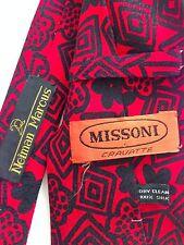 "Vintage Missoni Tie Red Black Geometric Necktie Neiman Marcus 4"" Wide 80s"