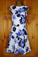 NEW EXCHAINSTORE BLUE WHITE VINTAGE FLORAL SUMMER PARTY COCKTAIL DRESS UK 4 - 12