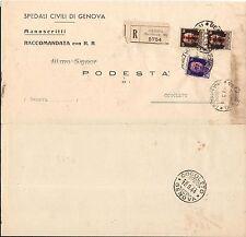 STORIA POSTALE RSI 1944 Raccomandata da Genova a Cogoleto (FS1)