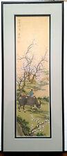 Chinese Silk Painting Landscape Boy OX Blossoming Sakura