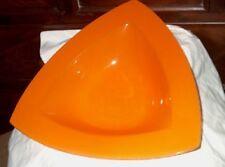 Orange Glass Triangle Bowl made in Brazil pebble peel texture MCM 12inch Retro