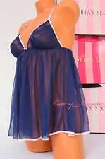 NWT VS VICTORIA'S SECRET Lingerie Fly-away Lace Babydoll Unlined M Navy Blue