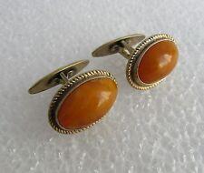 Russian Vintage Silver 875 Gold Plated Butterscotch Amber Cufflinks 11,5 gr.