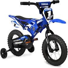 "Kids Bmx Bike 12"" Yamaha Moto Toddler Beginner Bicycle with Training Wheels Blue"
