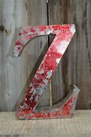MEDIUM VINTAGE STYLE 3D RED Z SHOP SIGN LETTER TIN WALL ART LETTER FONT