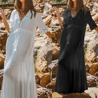 Plus Size Women Summer Holiday Long Shirt Dress Lace Swing Beach Party Maxi Robe