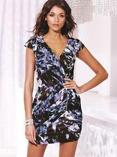 Lipsy Chiffon Dress 12 Multi Purple Grey Print Grecian Wrap Front Zip Party Club