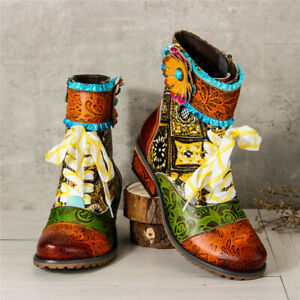 SOCOFY Women Genuine Leather Mid Ankle Shoes Floral Splicing Block Heel