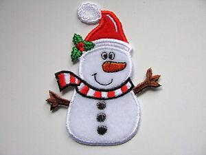 Patch, Bügelbild, Aufbügler, Stickapplikation: Weihnachten, Schneemann, Samt