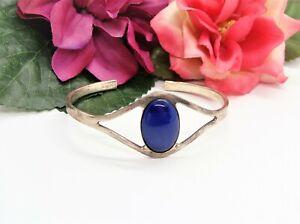 Pretty! Silvertone & Royal Blue Glass Oval Cabochon Cuff Bracelet!