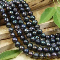 "Genuine Natural 7-8MM Black Akoya Freshwater Pearl Loose Beads 15"" Strand"