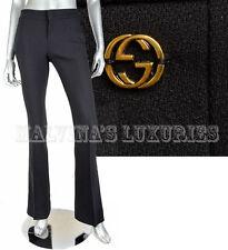 $695 GUCCI PANTS CLASSIC BLACK FLATTERING FIT STRETCH WOOL GG LOGO DETAIL 42 / 6