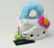 Hello Kitty By Sanrio White Plush Purse Bag w Blue Fuzzy Handles Pink Bow, NWT