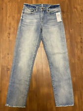 NEW NWT Women's 7 Seven For All Mankind Roxanne Ankle Jean Size 27 Raw Hem