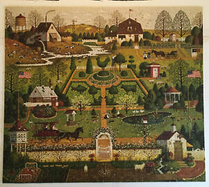 MB 1000 pc CHARLES WYSOCKI'S Americana Jigsaw Puzzle COUNTRY GARDEN Complete USA