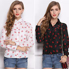 Womens Long Sleeve Button Down Shirt Lip Print Collared OL Blouse Tops Pullover