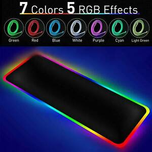 800*300mm Large Rgb Colorful Led Lighting Gaming Mouse Pad Mat Desk Pc Laptop