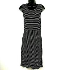 Athleta XL Dress La Palma black stripe knit sleeveless midi