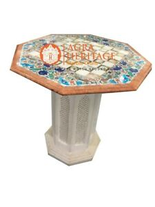"""24"""" Marble Coffee Chess Design Table Top With Stand Multi Marquetry Inlaid E945"""