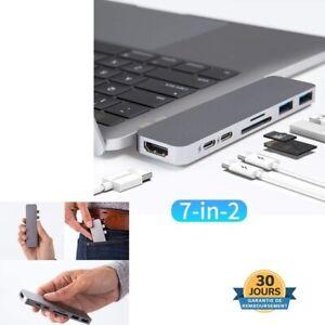 Moyeu Adaptateur Hub USB-C Vers 2 USB 3.0 HDMI Micro SD TF Pour Macbook Pro Neuf