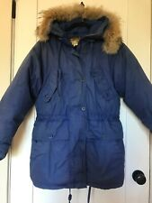 Vintage Eddie Bauer Womens Blue Goose Down Coat with Coyote Fur Hood Small