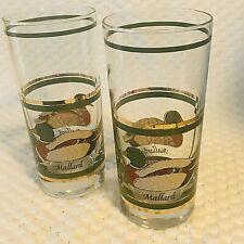 Mallard Duck Highball Drinking Glass Tumblers 2 PC Set Gold Accent Hunting Vtg