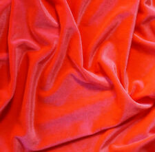 "NEON ORANGE STRETCH VELVET FABRIC TWO TONE PEACH FLOURESCENT 58"" BY THE YARD"