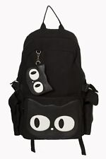 Black Canvas Cat Kitty Eyes Gothic Hallie Backpack School Bag By Banned Apparel