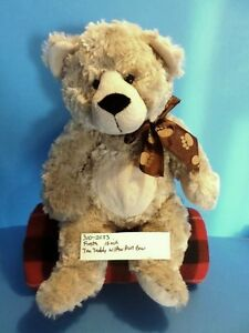 Fiesta Tan/Beige Teddy Bear Plush With Paw Print Bow(310-2033)