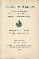PARKE BERNET HEREND PORCELAIN Mayer Collection Auction Catalog 1952