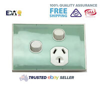 Single Power Point Extra Switch Outlet Wall Socket GPO Green Glass Look