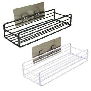 Shelf Adhesive Storage Rack Shower Wall Mounted Basket Organizer Kitchen Tool