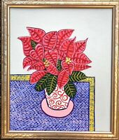 Original Painting Of A Poinsettia House Plant,folk/naive Art,Red Leaves